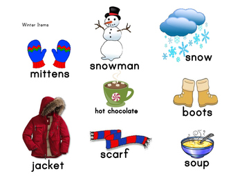 Winter items vocabulary and activity sort