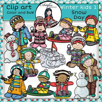 Winter kids 2 - Snow Day- Color and B&W
