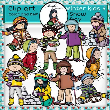 Winter kids 3 - Snow Day- Color and B&W