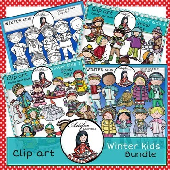Winter kids Bundle- Color and B&W