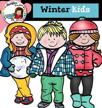 Winter kids clip art -Color and B&W-
