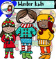 Winter kids clip art set