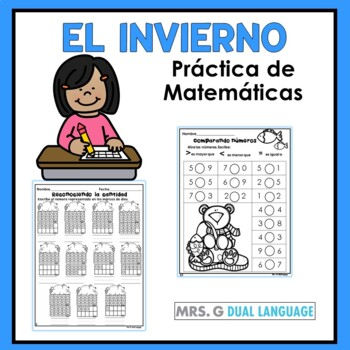 Winter math practice pages in Spanish