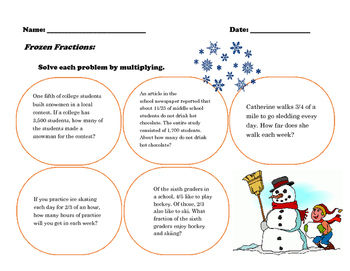 Winter math problems with fractions