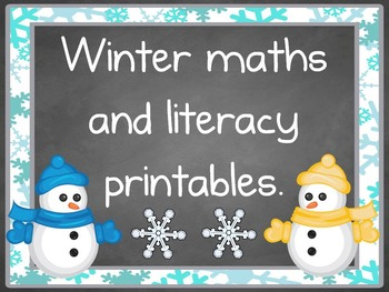 Winter maths and literacy printables