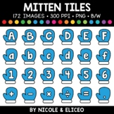 Winter mitten Letter and Number Tiles Clipart