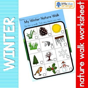 Winter Nature Walk Worksheet By Little Blue Orange Tpt