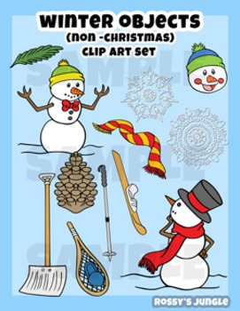 Winter objects (non - Christmas) Clip art set