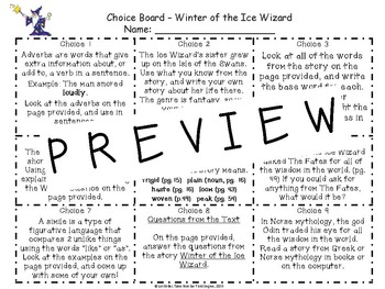Magic Tree House Winter of the Ice Wizard Reading and Writing Choice Board