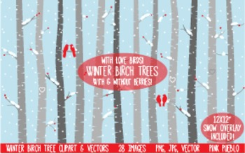 Winter or Christmas Birch Tree Clipart Clip Art - Commercial and Personal Use