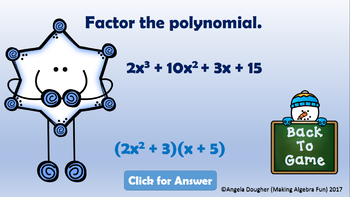 Winter or Christmas Find the Snowman Game Factoring Polynomials PREP FREE