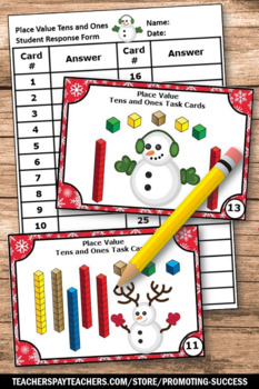 Place Value Tens and Ones Games, Winter Math, Base Ten Blocks First Grade