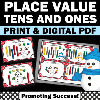1st Grade Christmas Math Centers Games w/ Tens and Ones Place Value SCOOT