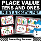 1st Grade Christmas Math Centers Games w/ Tens and Ones Pl