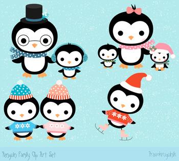 ecf85796727a45 Winter penguin family clipart set, Cute Christmas penguins animal clip ...