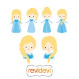 Winter princess blue dress clipart