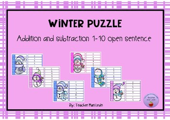 Winter puzzle addition and subtraction open sentence 1-10