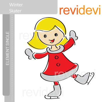 Winter skater clip art / blonde girl in red dress E017