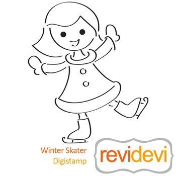 Winter skater (digital stamp, coloring image) S026, ice skating