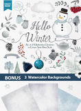 Winter snow clipart winter trees snowman winter elements snow flakes cold