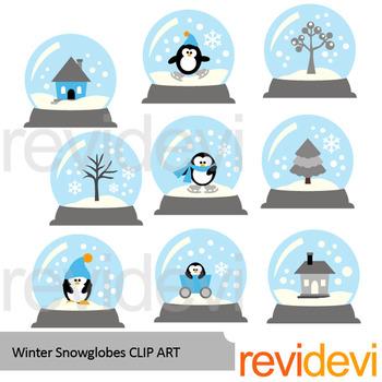Winter snowglobes clip art