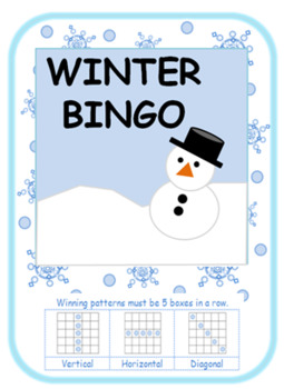 Winter snowy bingo cards + calling cards