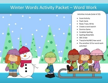 Winter spelling packet by SpellingPackets.com with 15 words - NO PREP!