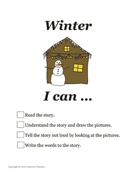 Winter story w/ seasonal clothing, weather & activities - read, draw, write