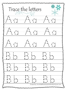 Winter themed A-Z tracing preschool educational worksheets.  Daycare alphabet.