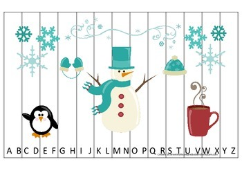 Winter themed Alphabet Sequence Puzzle preschool educational printable game.