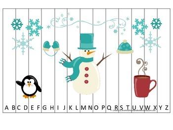 Winter themed Alphabet Sequence Puzzle preschool education