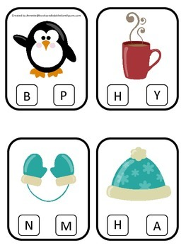 Winter themed Beginning Sounds preschool learning game.  Daycare curriculum game