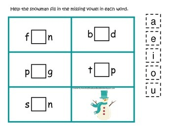 Winter themed CVC activity #1.  Preschool and daycare vowel and phonics game.