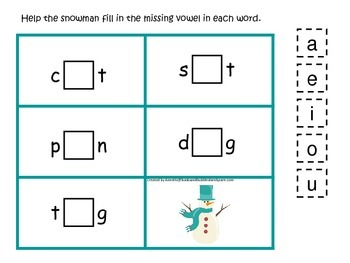 Winter themed CVC activity #3.  Preschool and daycare vowel and phonics game.
