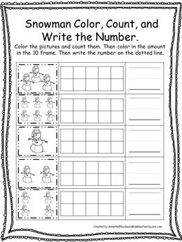 Winter themed Color, Count, and Write the Number. Preschool-Kindergarten Math.