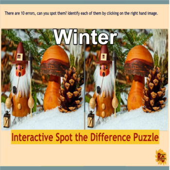 Winter themed Interactive Spot the Difference Puzzle Grade 2-5