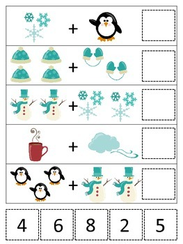 Winter themed Math Addition preschool printable game.  Daycare curriculum.