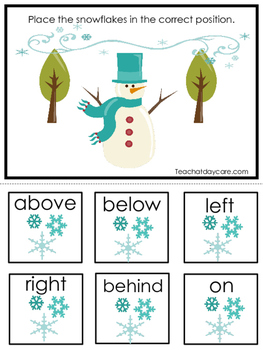 Winter themed Positional Game.  Printable Preschool Curriculum Game