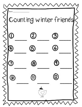 Winter themed counting Math Center