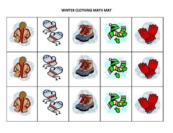 Winter-themed math mats for preschool and K/1st grade