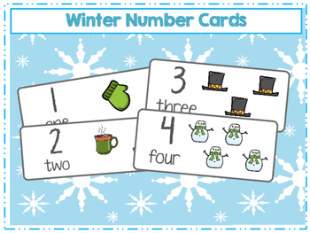 Winter themed number cards