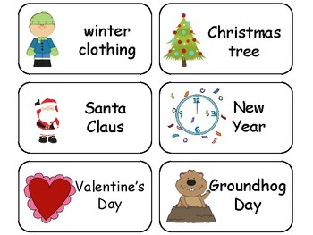 Winter themed printable Picture Word Flashcards. Preschool flashcards.