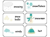Winter themed printable Picture Word Flashcards. Preschool