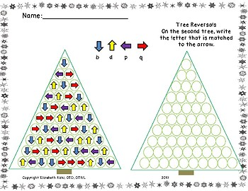 Winter tree fine motor, patterns, gross motor and reversals differentiated