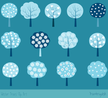 Winter trees clipart set, Blue holiday trees clip art, Seasonal tree images