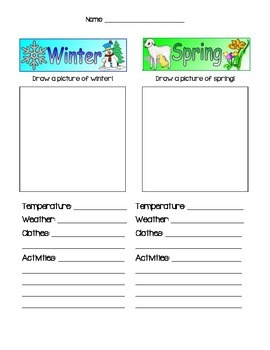 Winter vs. Spring worksheet