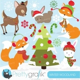 Winter woodland clipart commercial use, vector graphics - CL600