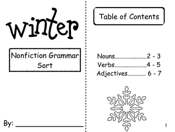 Winter words non fiction book and grammar sort