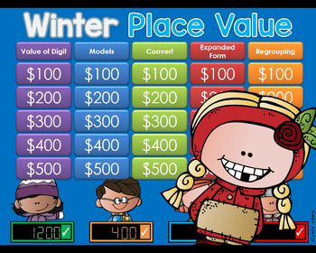Winter/Polar theme Jeopardy Style Game Show - PLACE VALUE