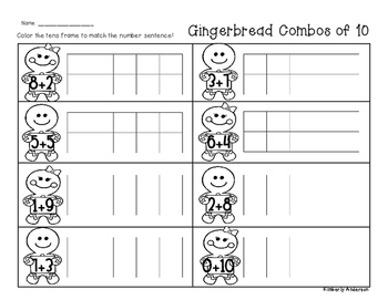 Winter/Christmas Gingerbread Combos of Ten - Number Sense